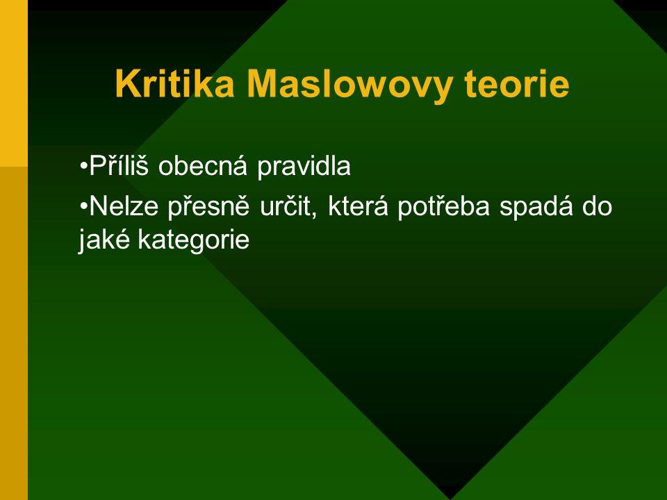 Kritika Maslowovy teorie