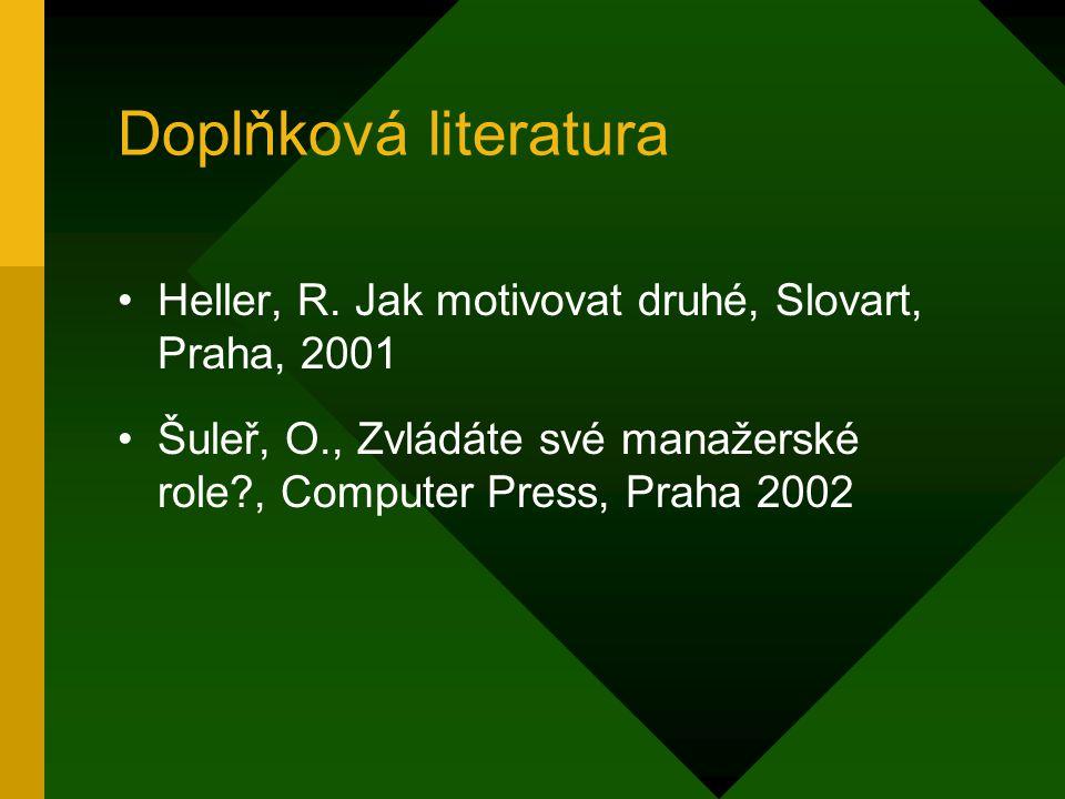 Doplňková literatura Heller, R. Jak motivovat druhé, Slovart, Praha, 2001.