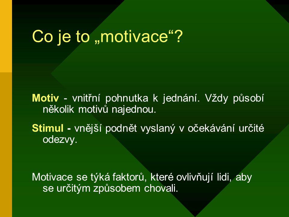 """Co je to """"motivace Motiv - vnitřní pohnutka k jednání. Vždy působí několik motivů najednou."""