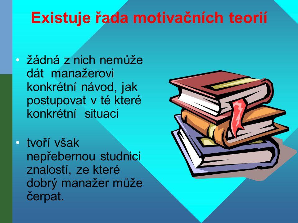 Existuje řada motivačních teorií