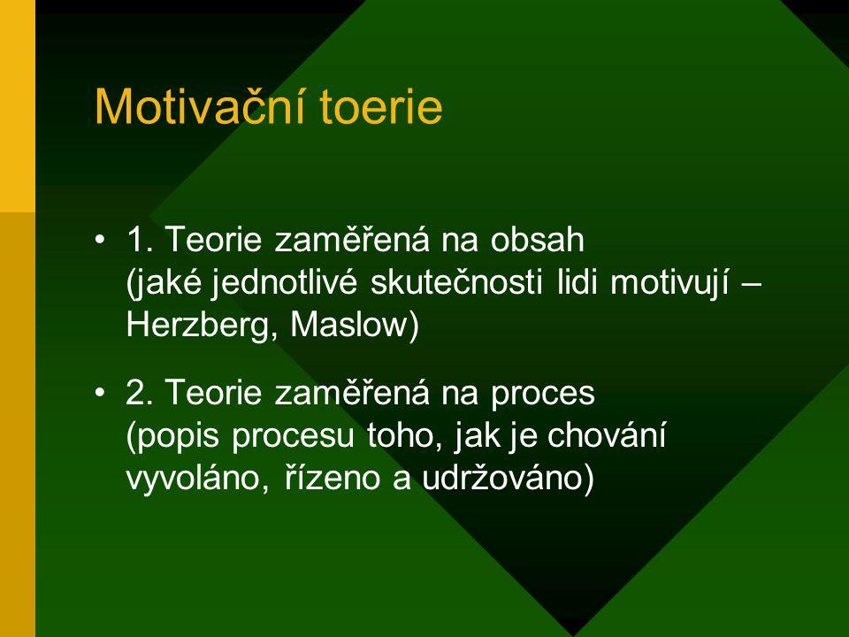 Motivační toerie 1. Teorie zaměřená na obsah (jaké jednotlivé skutečnosti lidi motivují – Herzberg, Maslow)