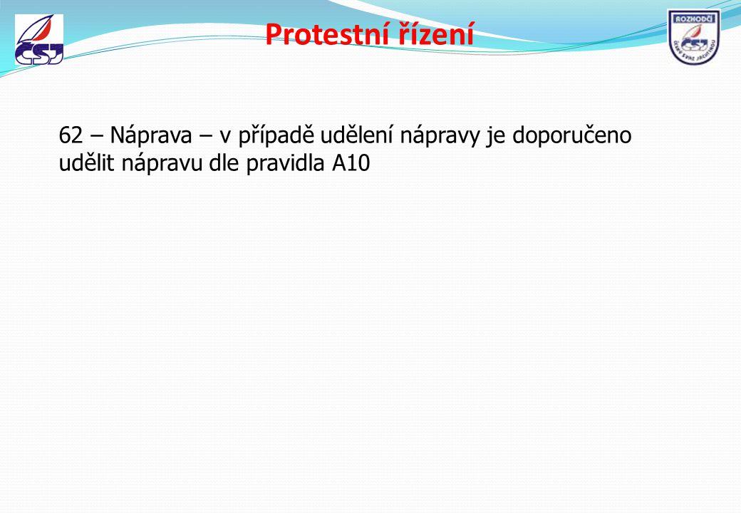 Protestní řízení 62 – Náprava – v případě udělení nápravy je doporučeno udělit nápravu dle pravidla A10.