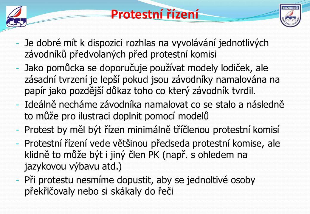 Protestní řízení Je dobré mít k dispozici rozhlas na vyvolávání jednotlivých závodníků předvolaných před protestní komisi.