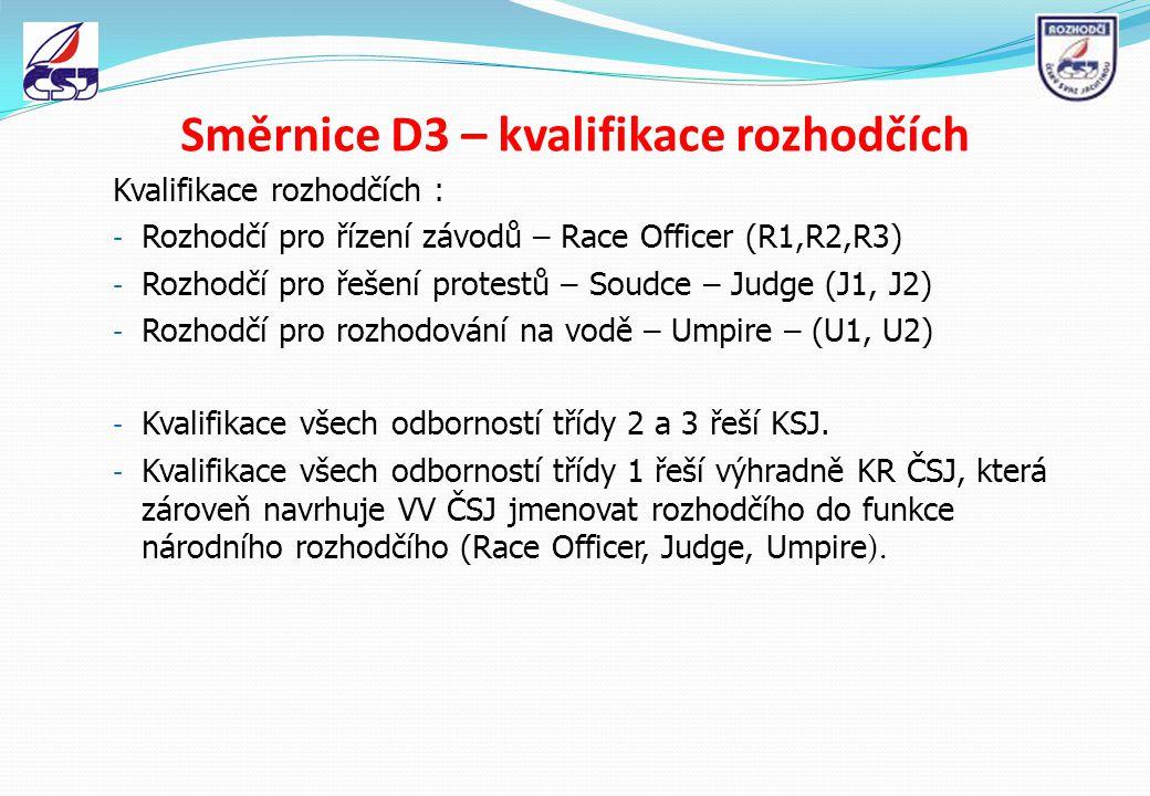 Směrnice D3 – kvalifikace rozhodčích