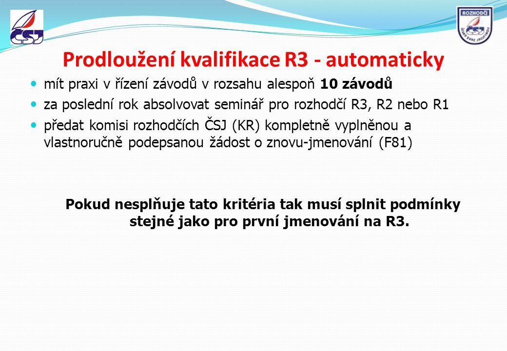 Prodloužení kvalifikace R3 - automaticky