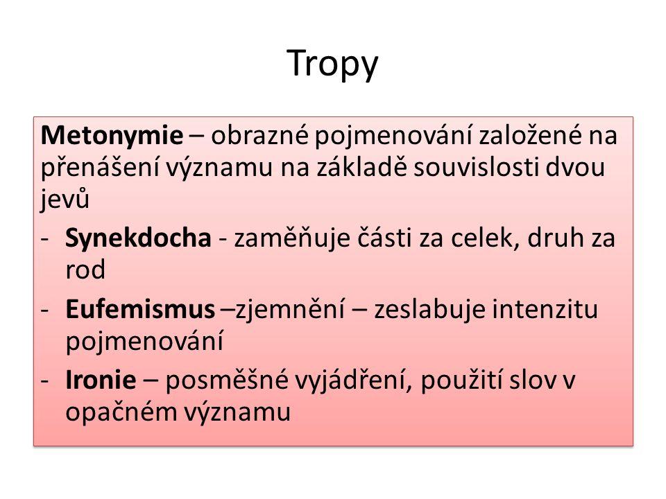 Tropy Metonymie – obrazné pojmenování založené na přenášení významu na základě souvislosti dvou jevů.