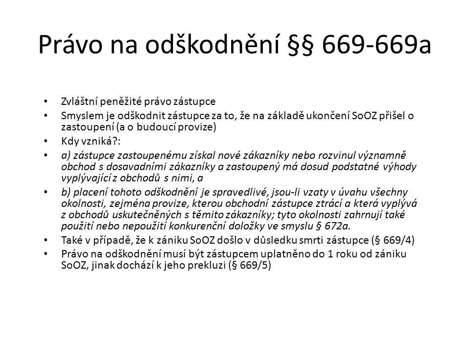 Právo na odškodnění §§ 669-669a
