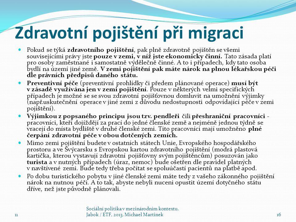 Zdravotní pojištění při migraci