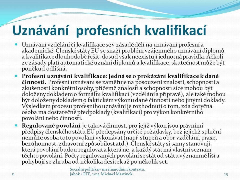 Uznávání profesních kvalifikací