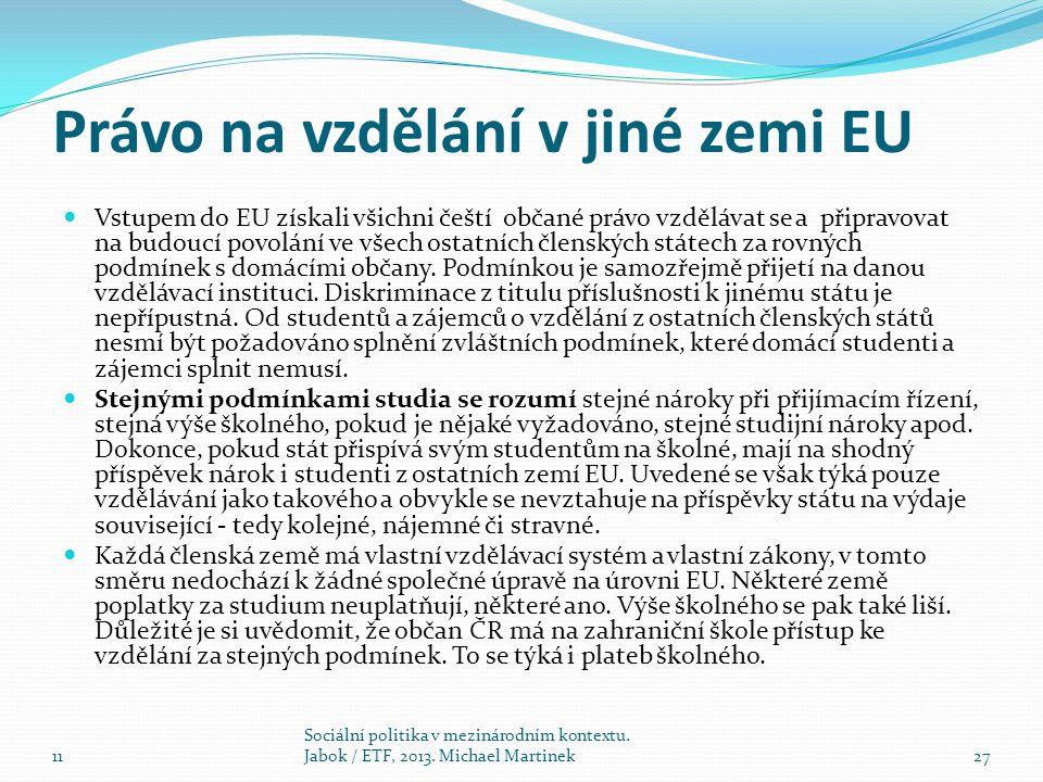Právo na vzdělání v jiné zemi EU