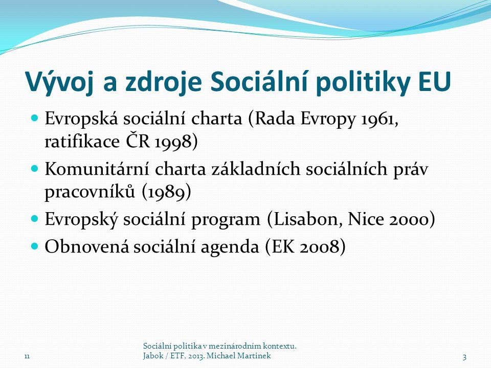 Vývoj a zdroje Sociální politiky EU