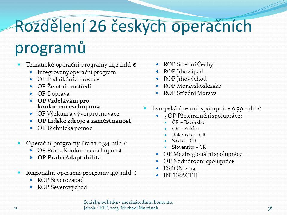 Rozdělení 26 českých operačních programů