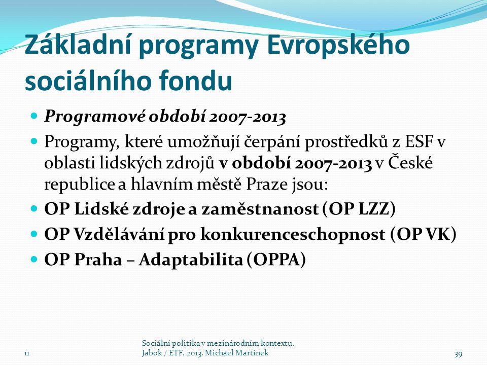 Základní programy Evropského sociálního fondu