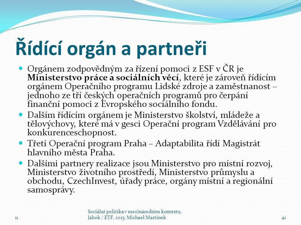 Řídící orgán a partneři