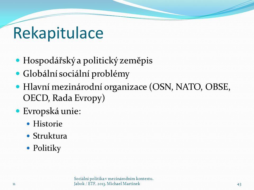 Rekapitulace Hospodářský a politický zeměpis
