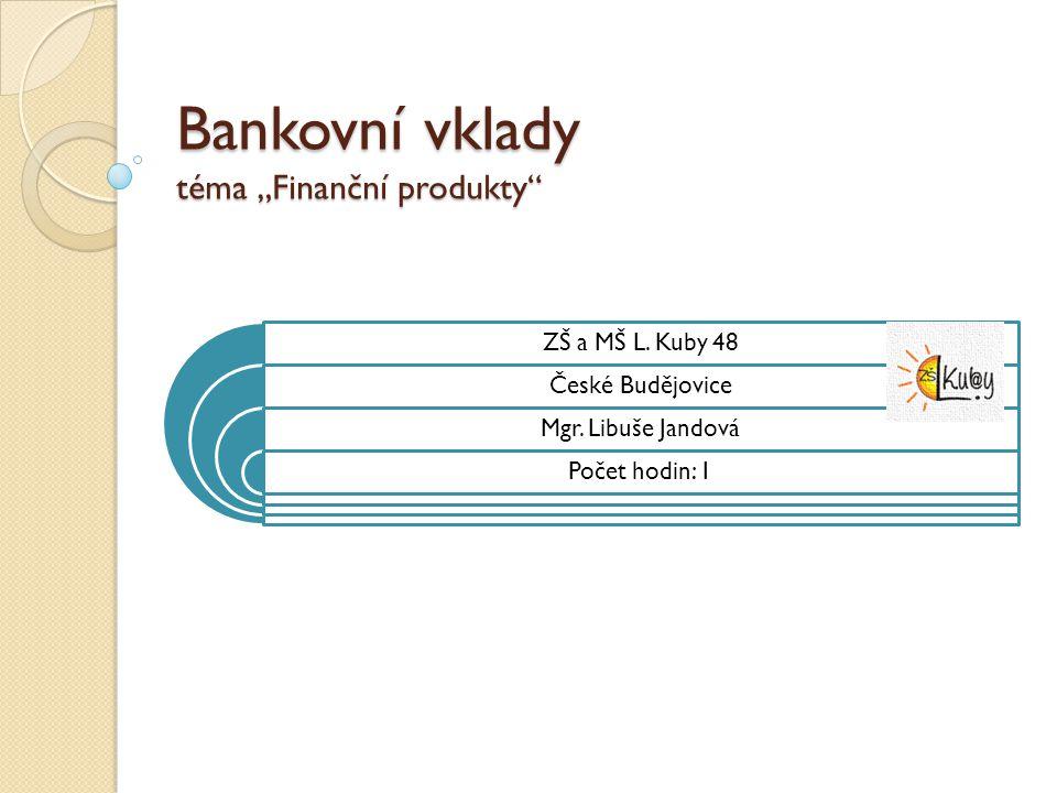 """Bankovní vklady téma """"Finanční produkty"""