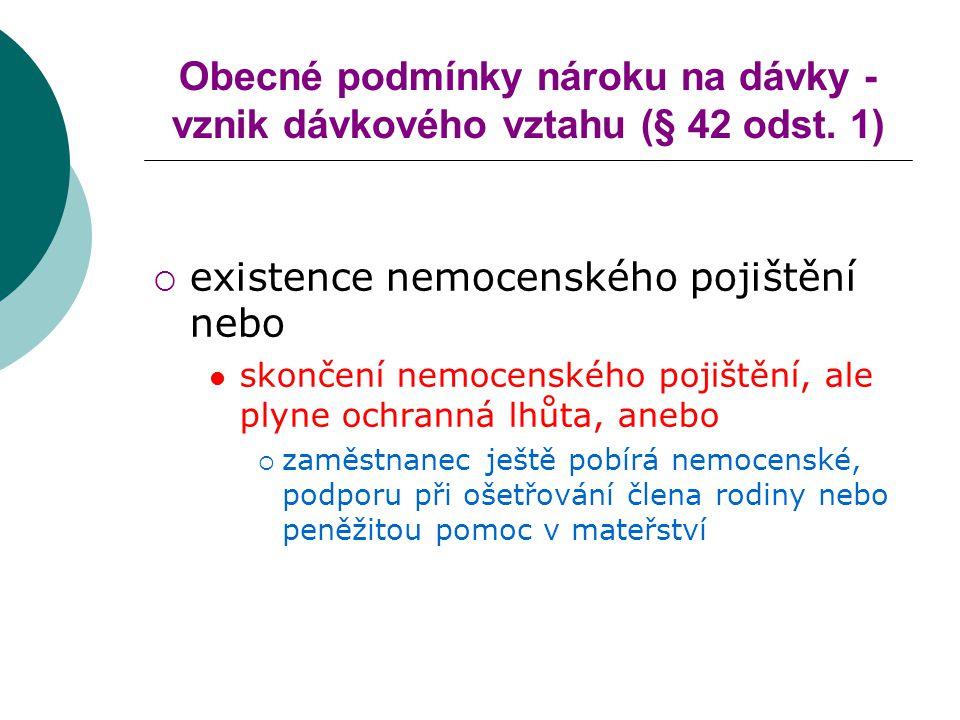Obecné podmínky nároku na dávky - vznik dávkového vztahu (§ 42 odst. 1)