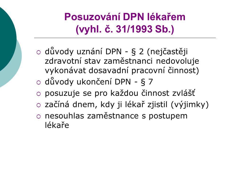 Posuzování DPN lékařem (vyhl. č. 31/1993 Sb.)