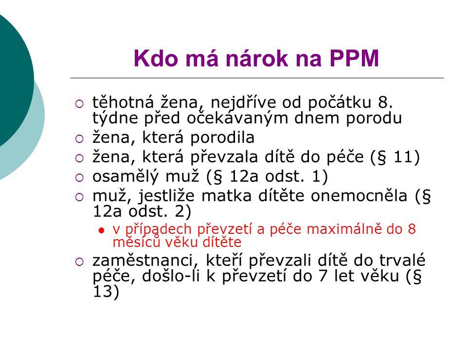 Kdo má nárok na PPM těhotná žena, nejdříve od počátku 8. týdne před očekávaným dnem porodu. žena, která porodila.