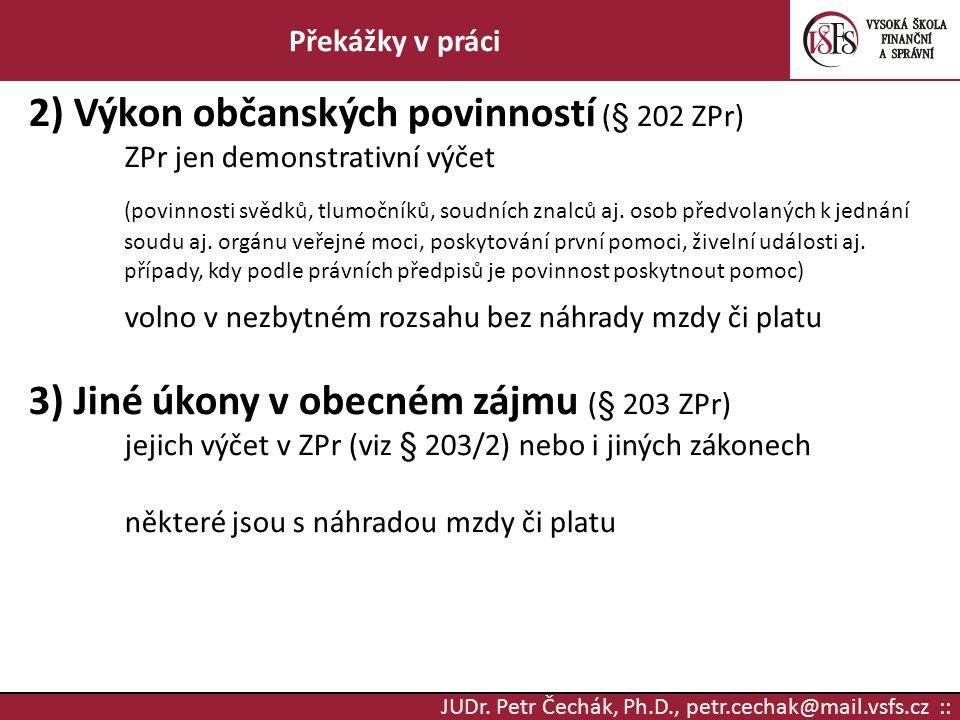 2) Výkon občanských povinností (§ 202 ZPr)