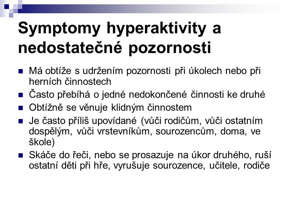 Symptomy hyperaktivity a nedostatečné pozornosti