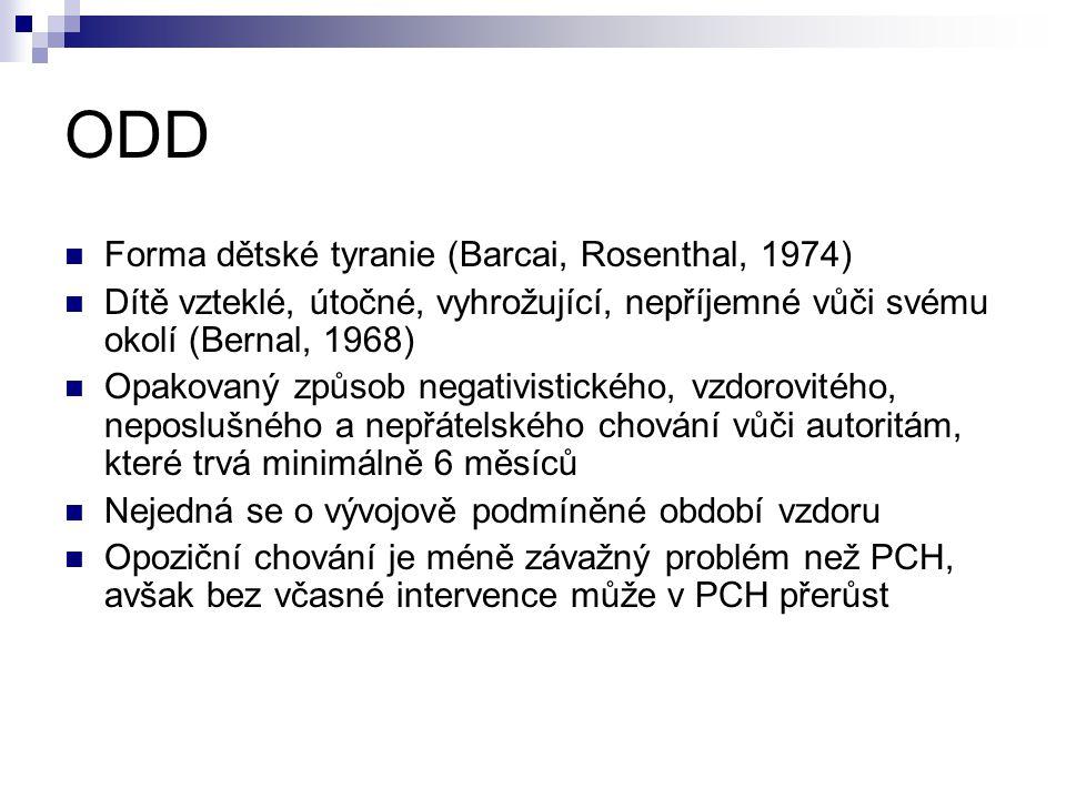 ODD Forma dětské tyranie (Barcai, Rosenthal, 1974)