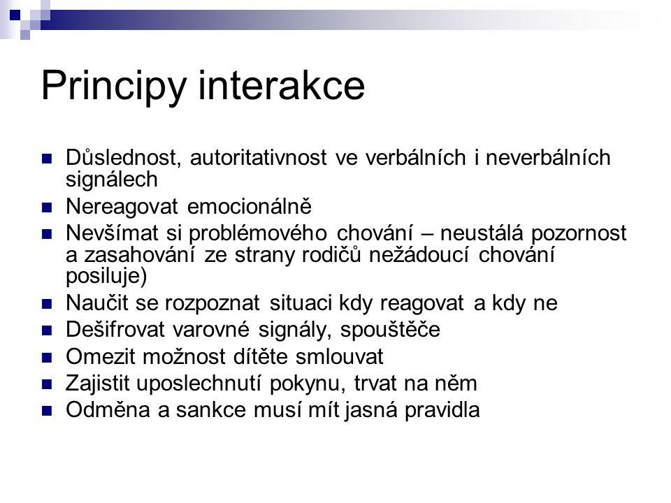 Principy interakce Důslednost, autoritativnost ve verbálních i neverbálních signálech. Nereagovat emocionálně.