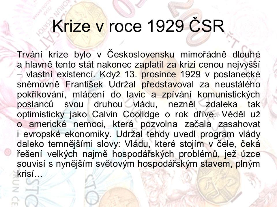 Krize v roce 1929 ČSR