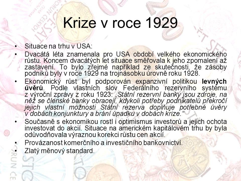 Krize v roce 1929 Situace na trhu v USA: