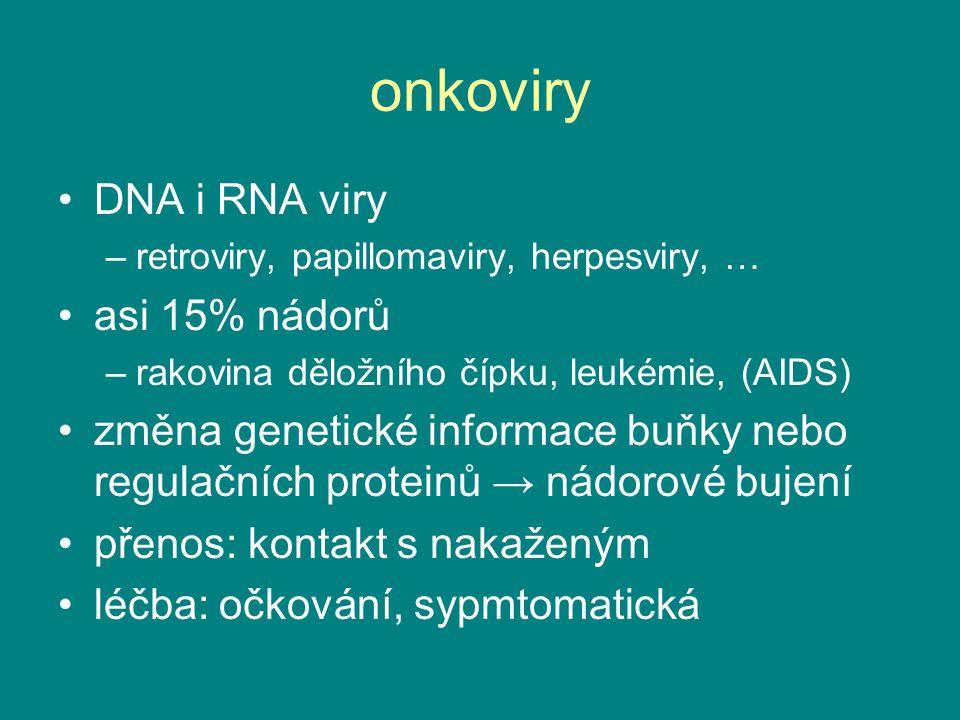 onkoviry DNA i RNA viry asi 15% nádorů