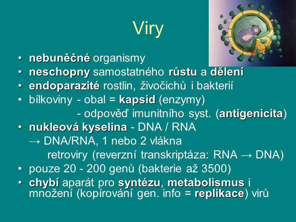 Viry nebuněčné organismy neschopny samostatného růstu a dělení