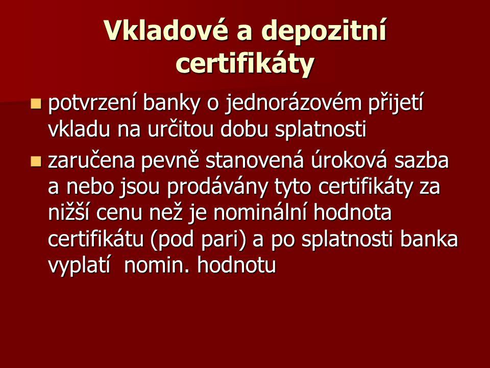 Vkladové a depozitní certifikáty
