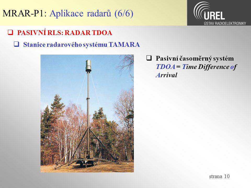 MRAR-P1: Aplikace radarů (6/6)