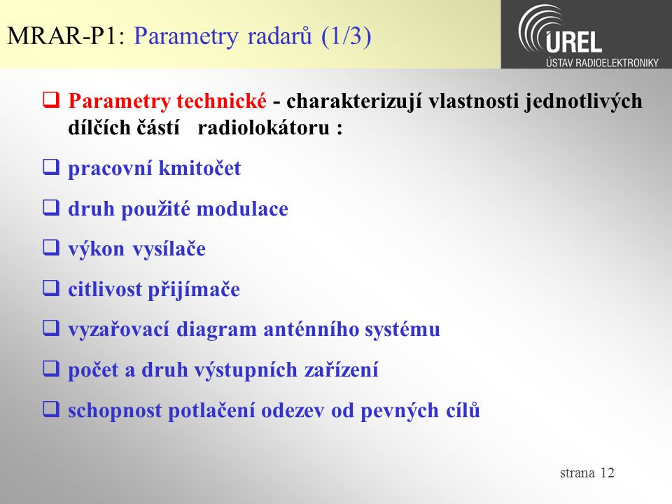 MRAR-P1: Parametry radarů (1/3)