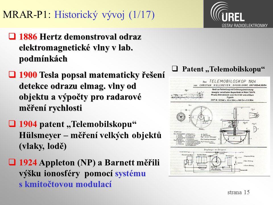 MRAR-P1: Historický vývoj (1/17)