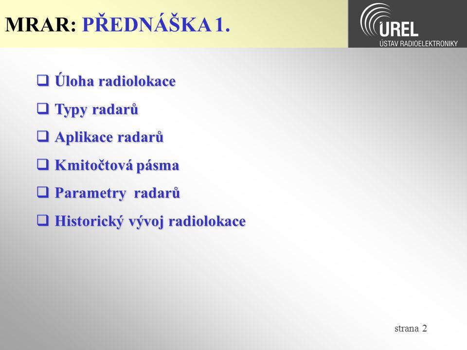 MRAR: PŘEDNÁŠKA 1. Úloha radiolokace Typy radarů Aplikace radarů