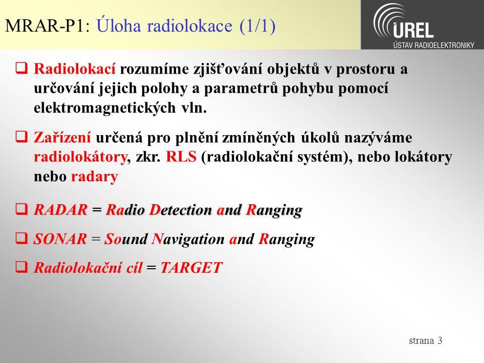 MRAR-P1: Úloha radiolokace (1/1)