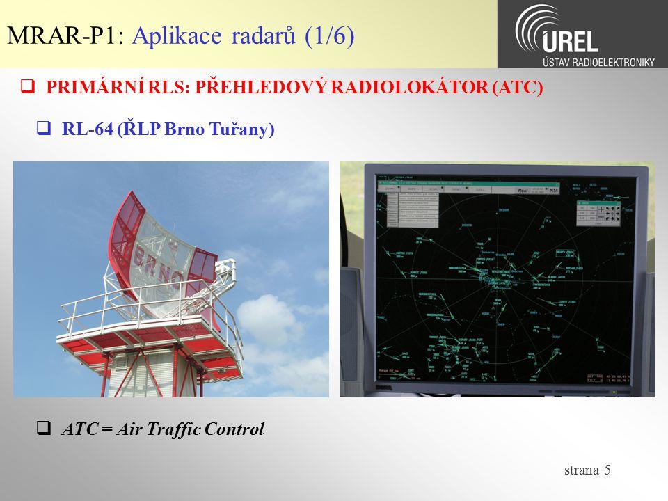 MRAR-P1: Aplikace radarů (1/6)