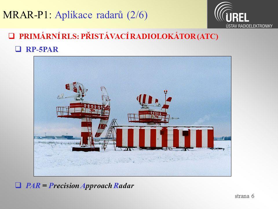MRAR-P1: Aplikace radarů (2/6)