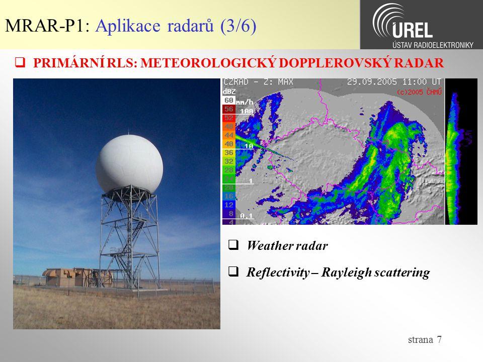 MRAR-P1: Aplikace radarů (3/6)