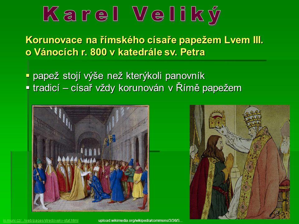 Karel Veliký Korunovace na římského císaře papežem Lvem III.