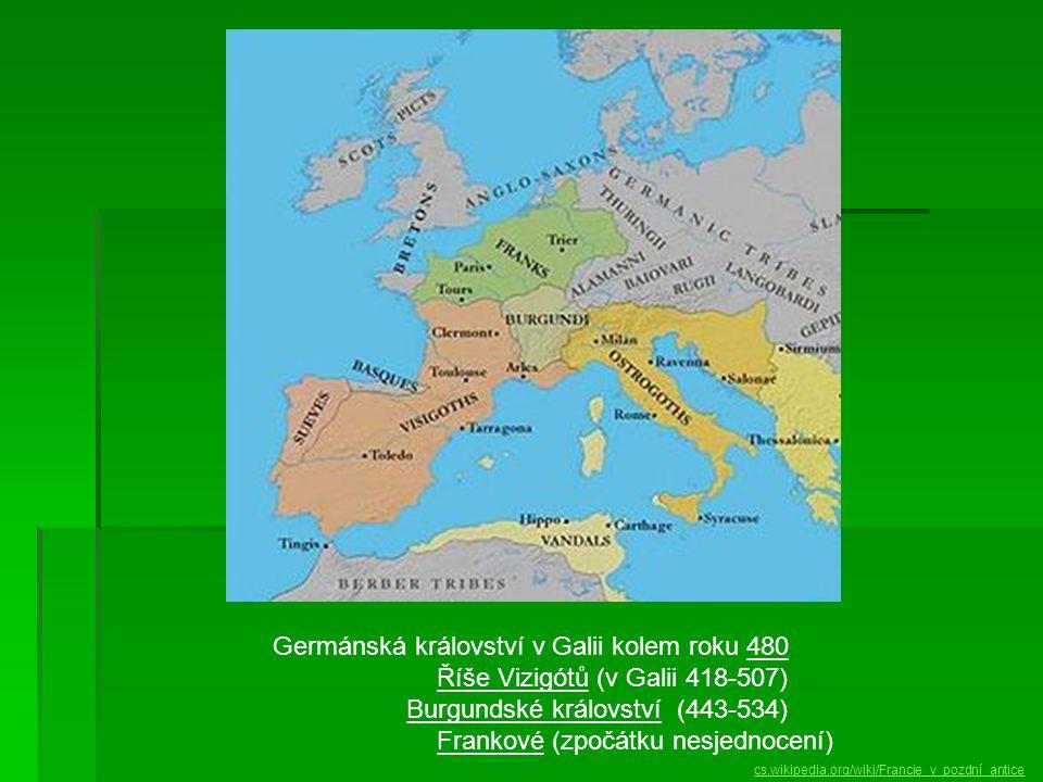 Germánská království v Galii kolem roku 480