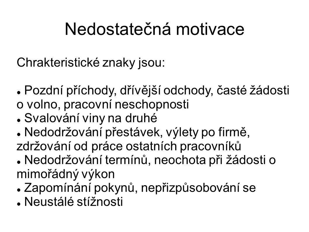 Nedostatečná motivace