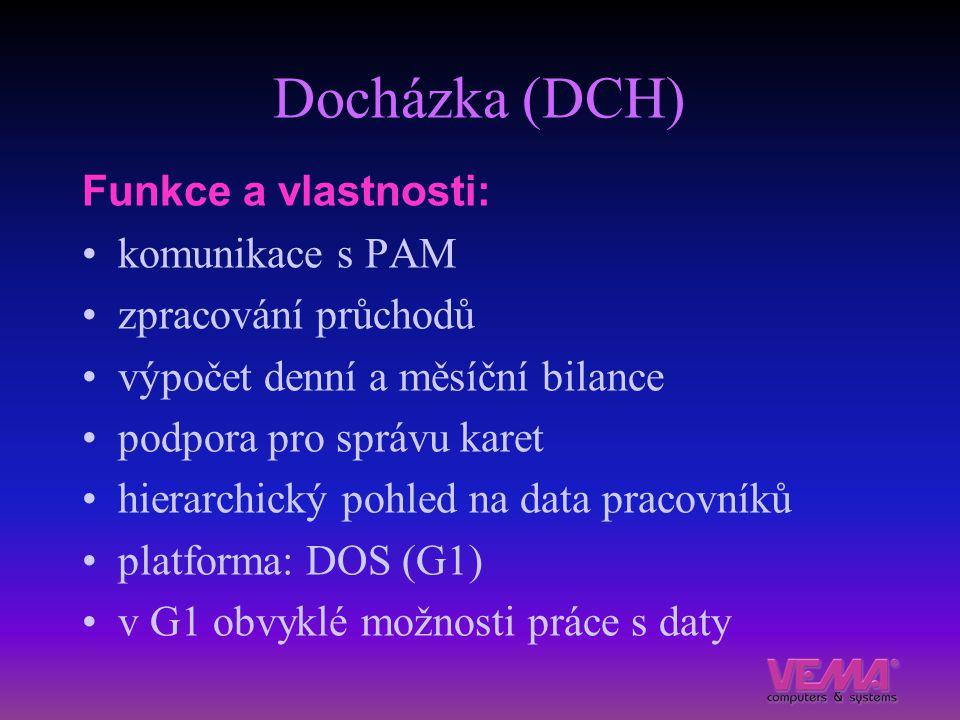 Docházka (DCH) Funkce a vlastnosti: komunikace s PAM