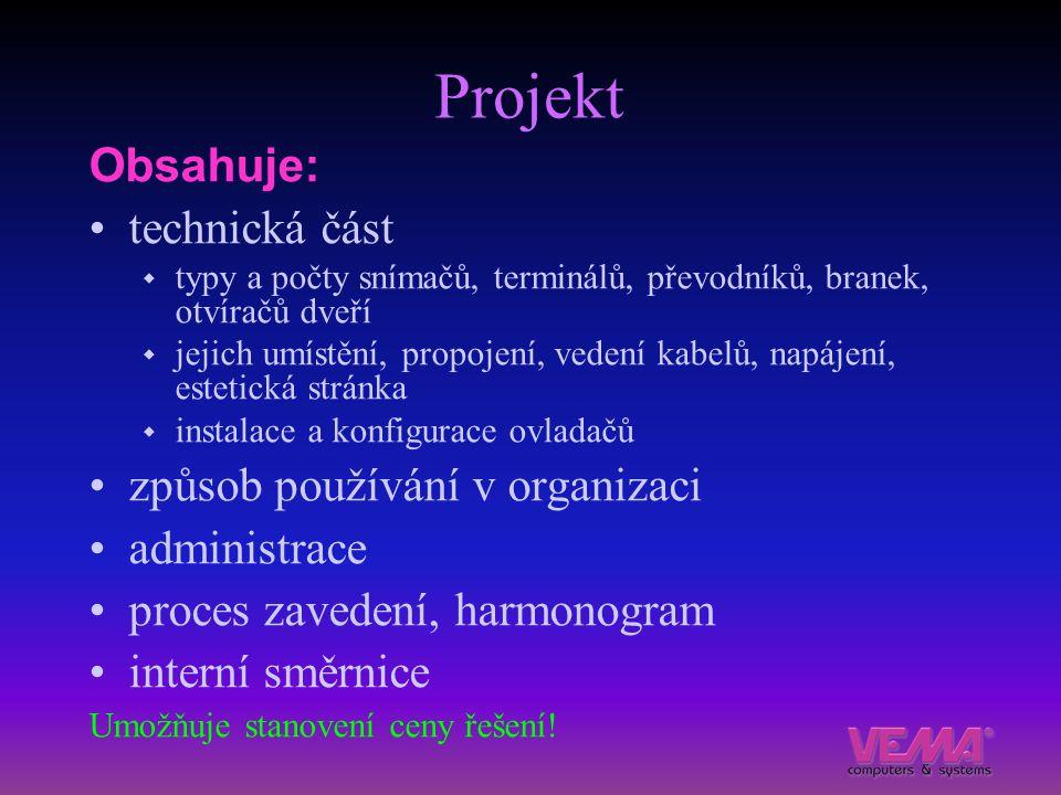 Projekt Obsahuje: technická část způsob používání v organizaci