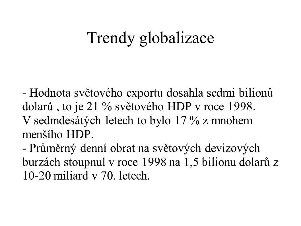 Trendy globalizace - Hodnota světového exportu dosahla sedmi bilionů dolarů , to je 21 % světového HDP v roce 1998.
