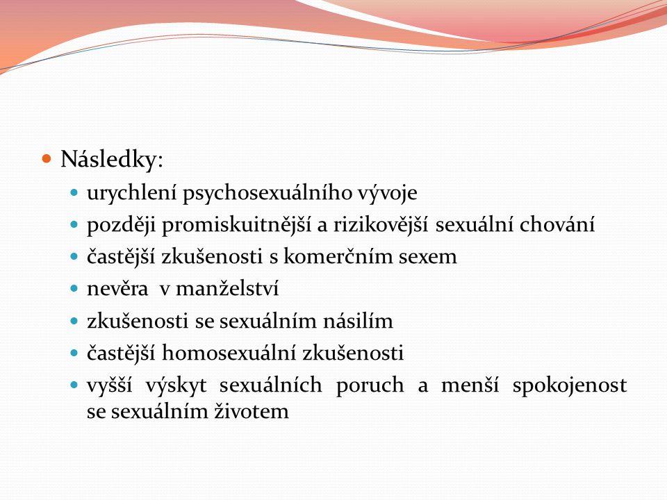 Následky: urychlení psychosexuálního vývoje