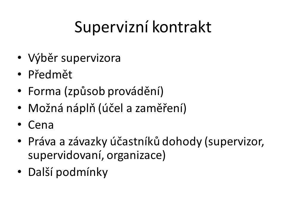 Supervizní kontrakt Výběr supervizora Předmět Forma (způsob provádění)