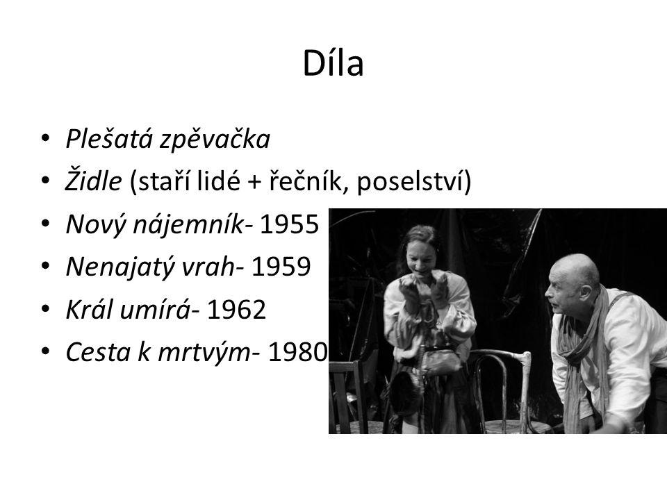 Díla Plešatá zpěvačka Židle (staří lidé + řečník, poselství)