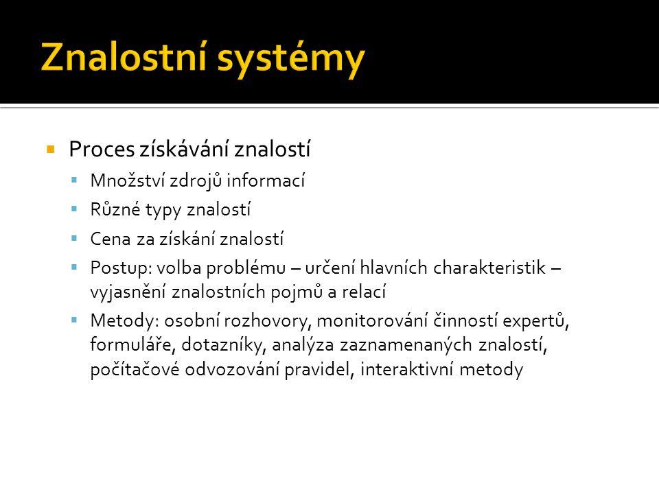 Znalostní systémy Proces získávání znalostí Množství zdrojů informací